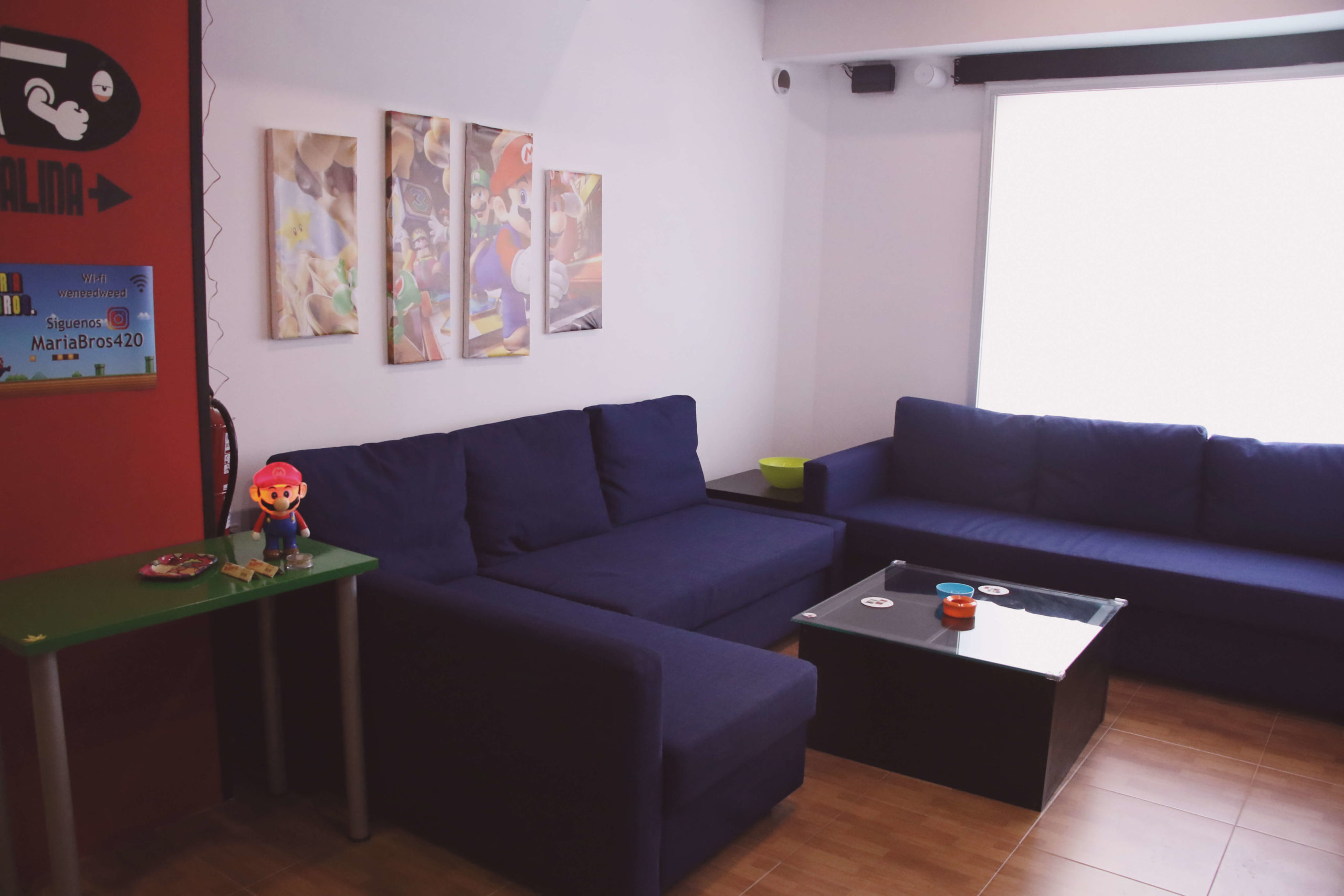 room decorated with video games theme and sofa
